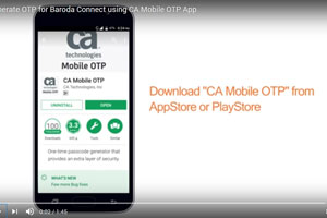 Generate OTP for Baroda Connect using CA Mobile...