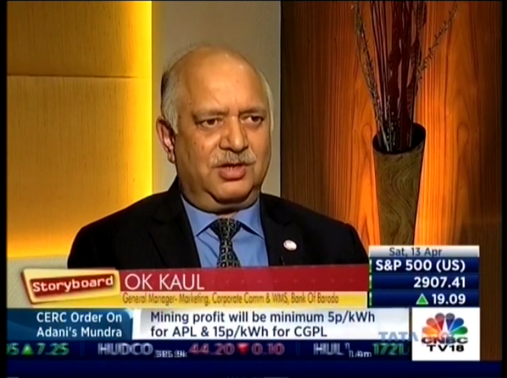 Shri O K Kaul at CNBC-TV 18 as #BankofBaroda...