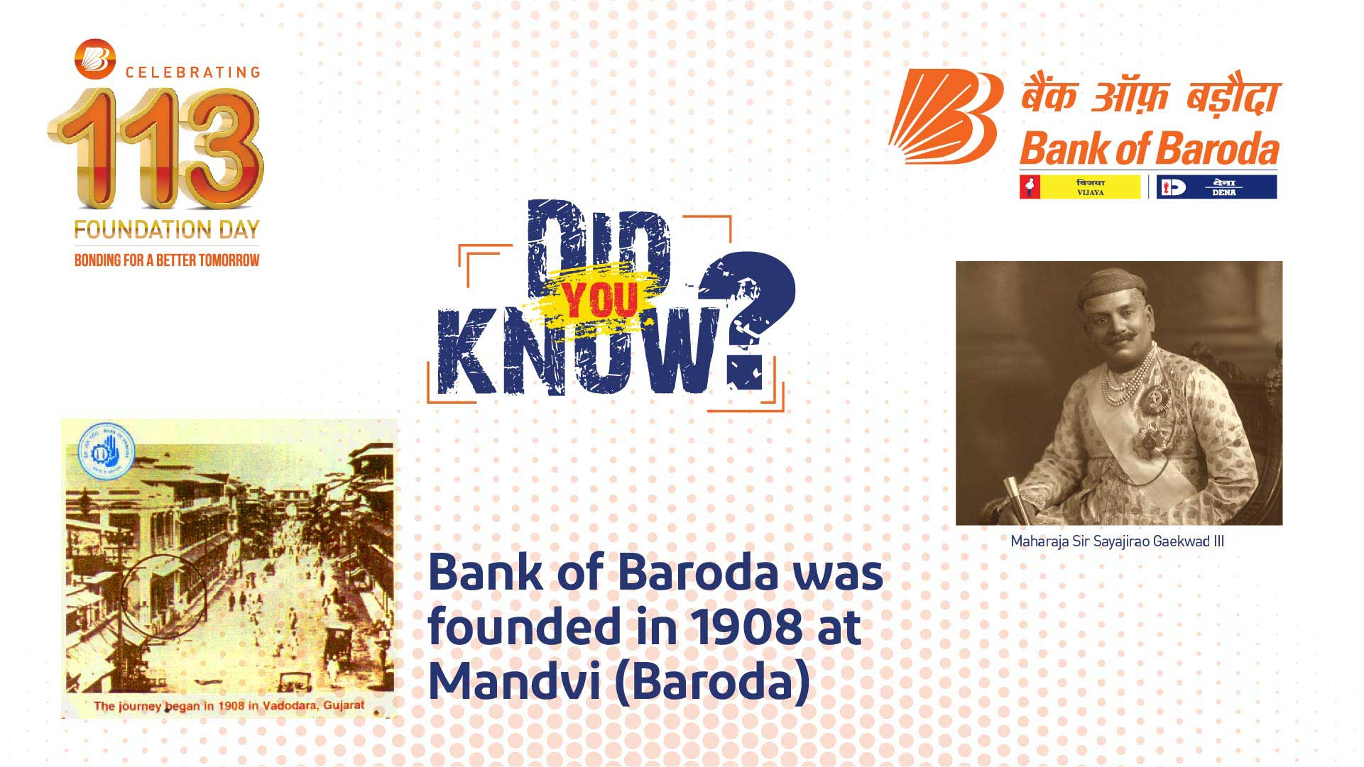 Did You Know? - Bank of Baroda was founded in 1908 at Mandvi (Baroda)