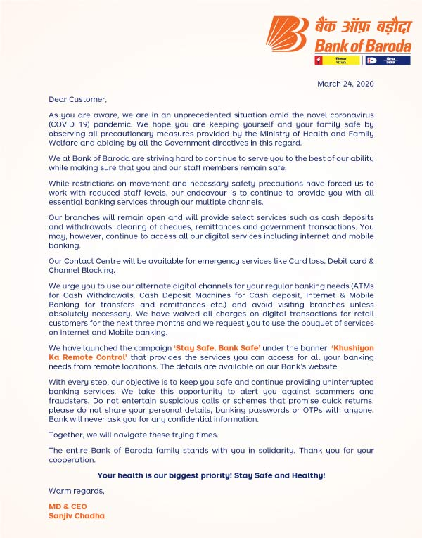 MD & CEO's letter to customers