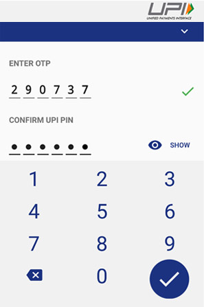 Confirm UPI Pin